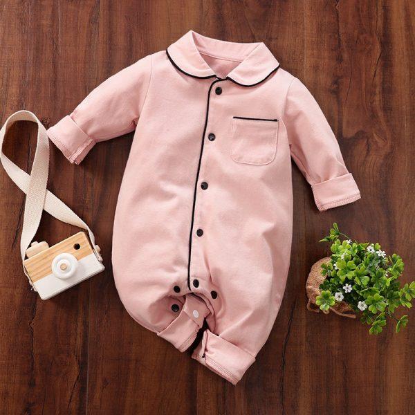 Cotton Soft Polo Collar Pocket Design Jumpsuit – Pink