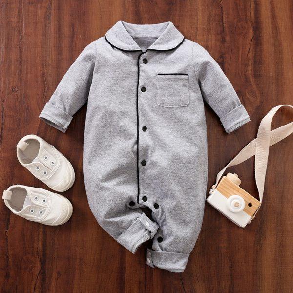 Cotton Soft Polo Collar Pocket Design Jumpsuit – Grey