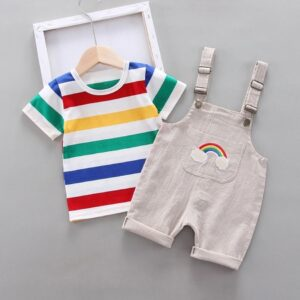 Casual rainbow striped top & overalls set